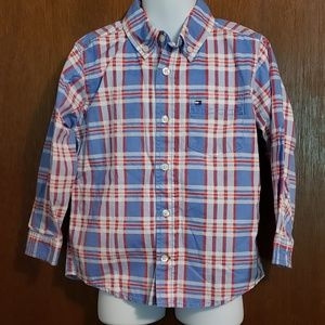 Boys blue and red plaid shirt